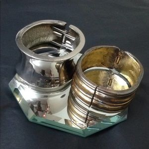 Vintage 2 Cute Cuff Bracelets gold/silver tone